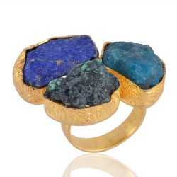 Rough Stone Turquoise Lapis and Apatite Fantastic Fashion Ring with Gold Plating