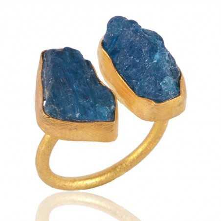 Rough Apatite Gemstone Adjustable Fashion Ring