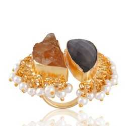 Rough Labradorite and Citrine nice Designer Fashion Ring with Pearl Drops