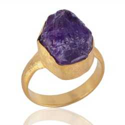 Rough Amethyst Matte Finish Gold Plated Ring