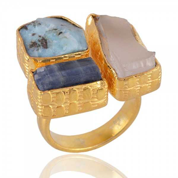 Rough Stone Gold Plated Matte Finished Fashion Ring