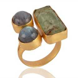 Labradorite and Rough Stone Fashion Jewelry Ring Yellow Gold Plated