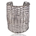 Sterling Silver Beautiful Handmade Basket Cuff Bracelet Unique Jewelry Piece