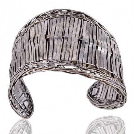 Solid 925 Silver Handmade Basket Net Cuff Bracelet Modeling Jewelry
