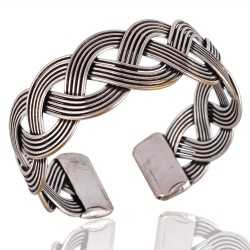 925 Silver Twisted Rope Style Cuff Bracelet