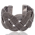 925 Sterling Silver Twisted Rope Style Cuff Bracelet