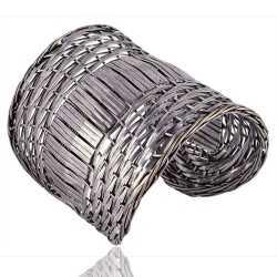 Solid Sterling Silver Basket Cuff Designer Textured Handmade Bracelet