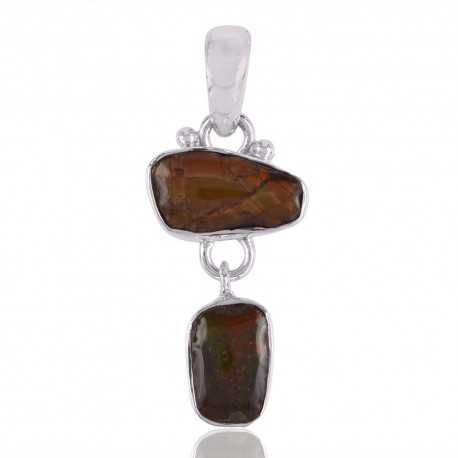 Canadian Ammolite Jewelry Pendant Made with Sterling Silver