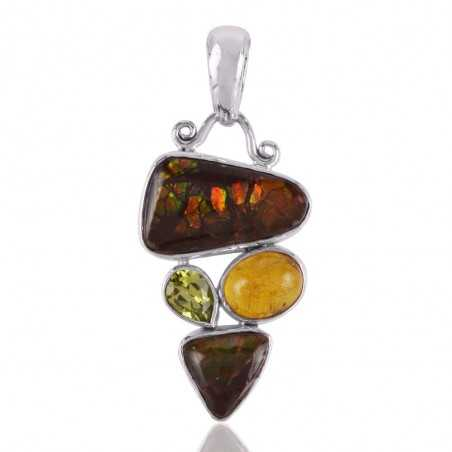 Ammolite Peridot and Baltic Amber 925 Silver Pendant Trendy Jewelry Online