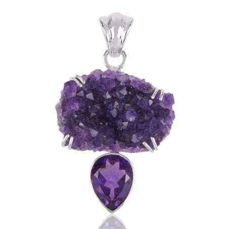 Druzy Amethyst and Amethyst  Feceted Gemstone Silver Ring Unique Piece of Jewelry