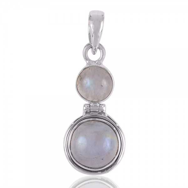 Rainbow Moonstone Dangling Silver Pendant
