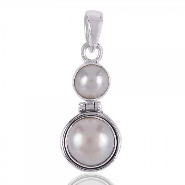 Whte Pearl Dangling Silver Pendant Locket
