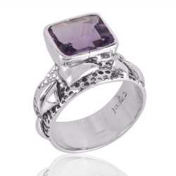 Beautiful Designer Sterling Silver Gemstone Ring with Amethyst Textured Ring
