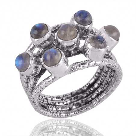 Rainbow Moonstone and Solid Silver Textured Designer Mood Ring