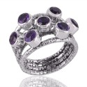 Amethyst and Solid Silver Textured Designer Mood Ring