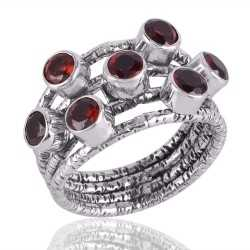 Solid Silver and Garnet Textured Designer Mood Ring