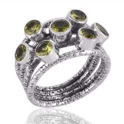 Solid Silver and Peridot Textured Designer Mood Ring