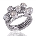 White Pearl and Solid Silver Textured Designer Mood Ring