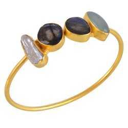 Labradorite Onyx and Biwa Pearl Gold Plated Fashion Bangle Bracelet