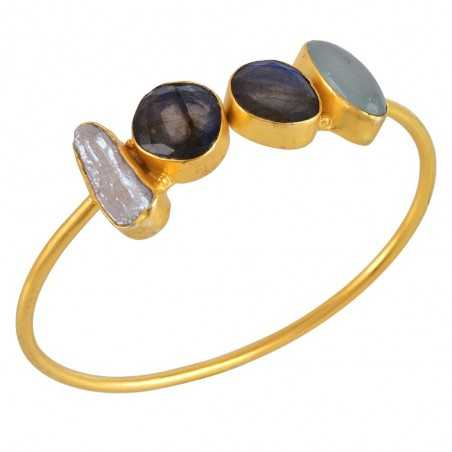Labradorite Onyx and Biwa Pearl Gold Plated Fashion Bangle Bracelet