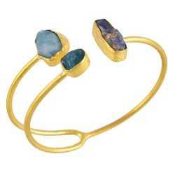 Rough Tanzanite and Rough Apatite Fashion Cuff Bracelet