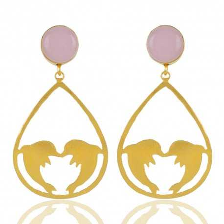 18K Gold Plated Rose Quartz Gemstone Dolphone Earring Fashion Jewellery