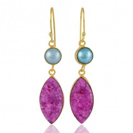 Pink Druzy and Color Pearl Gold Plated Fashion Earrings