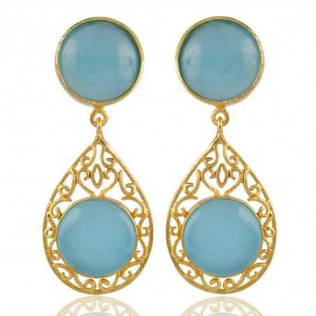 Aqua Chalcedony Filligree Designed Stud Earring