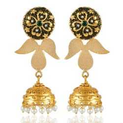 Pearl and White Cubic Zirconia CZ Traditional Jhumka Earring