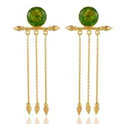 Green Hydro Long Dangle Earring Gold Plated Fashion Jewellery