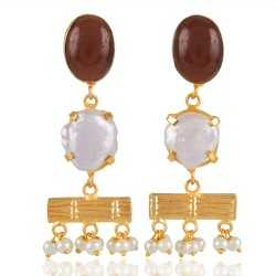 Tiger Eye and Pearl Dangle Earring Fashion Stud Earring