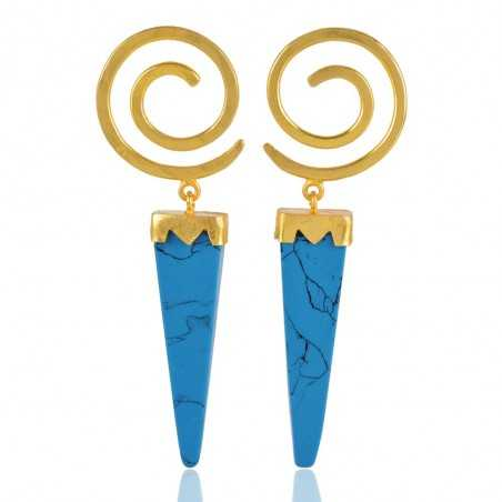 Yellow Gold Plated Fashion Jewelry Stud Earring with Turquoise Drop