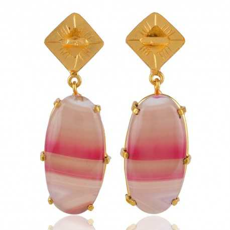 Natural Agate and Gold Plated Dangler Stud Earring