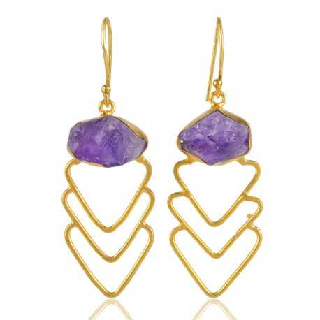 Yellow Gold Plated and Rough Amethyst Fashion Jewelry Dangle Earring