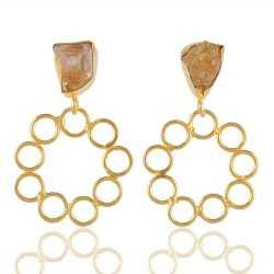 Rough Citrine Filigree Style Fashion Earring for Girls