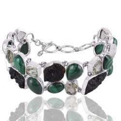 Malachite Tektite and Green Amethyst Silver Bracelet in Wholesale Price