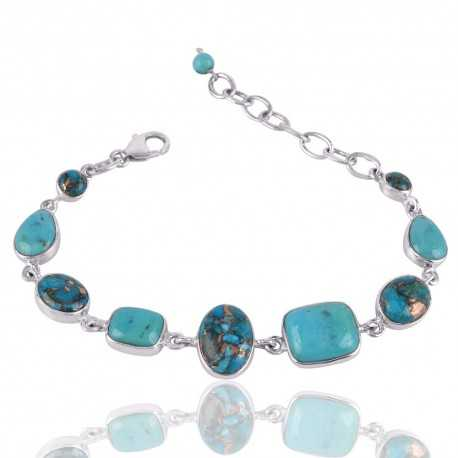 Kingman Turquoise Blue Copper and Arizona Turquoise Silver Bracelet