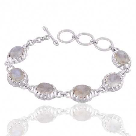 Rainbow Moonstone and Solid Sterling Silver Designer Bracelet