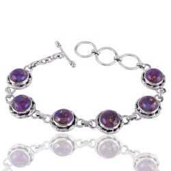 Purple Kingman Copper Turquoise Gemstone Silver Bracelet
