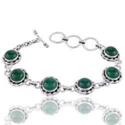 Green Onyx and 925 Silver Designer Gemstone Bracelet Green Stone Bracelet