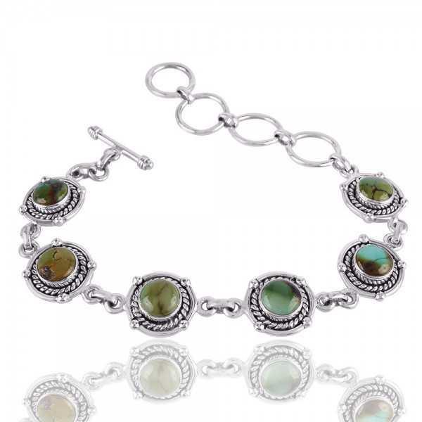 Natural Turquoise Solid Sterling Silver Bracelet