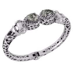 Green Amethyst AKA Prasiolite Designer Openable Silver Bangle Bracelet