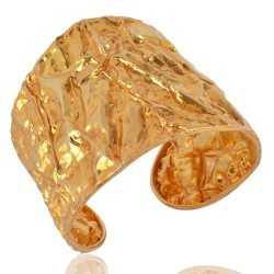 18K Gold Plated Sterling Silver Hand Hammered Foil Cuff Bracelet