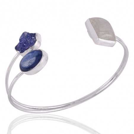 Kyanite Rainbow Moonstone and Rough Tanzanite Solid Silver Handmade Cuff Bracelet
