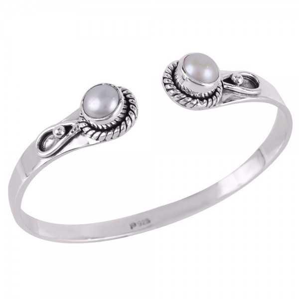 Sterling Silver White Pearl Cuff Bracelet Cuff