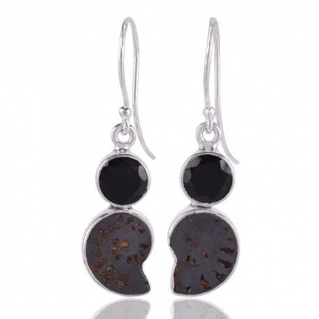 Hematite Ammonite Fossil and Black Onyx Dangling Earring Black Silver Earrings