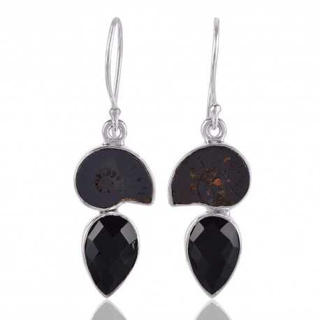Black Onyx and Hematite Ammonite Fossil Dangling Earring Black Silver Earrings