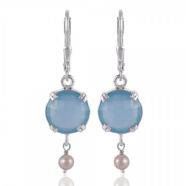 Blue Onyx and Pearl Dangle Drop Silver Earring Designer Earring for Girls and Womens