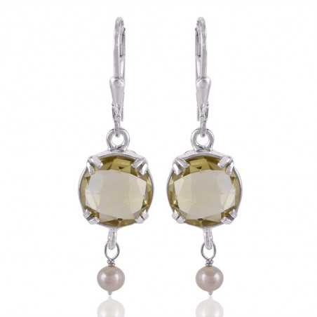 Lemon Quartz and Pearl Dangle Drop Silver Earring Designer Earring for Girls and Womens