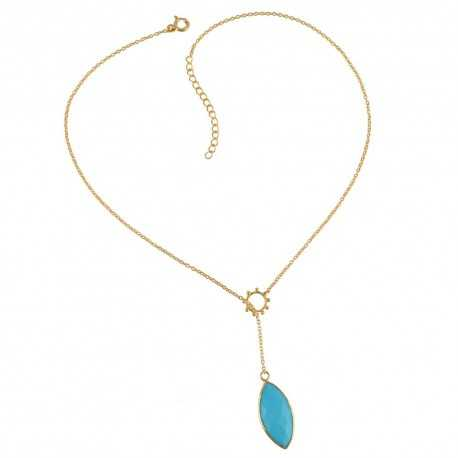 Arizona Turquoise Drop Necklace Gold Plated Streling Silver Simple Necklace